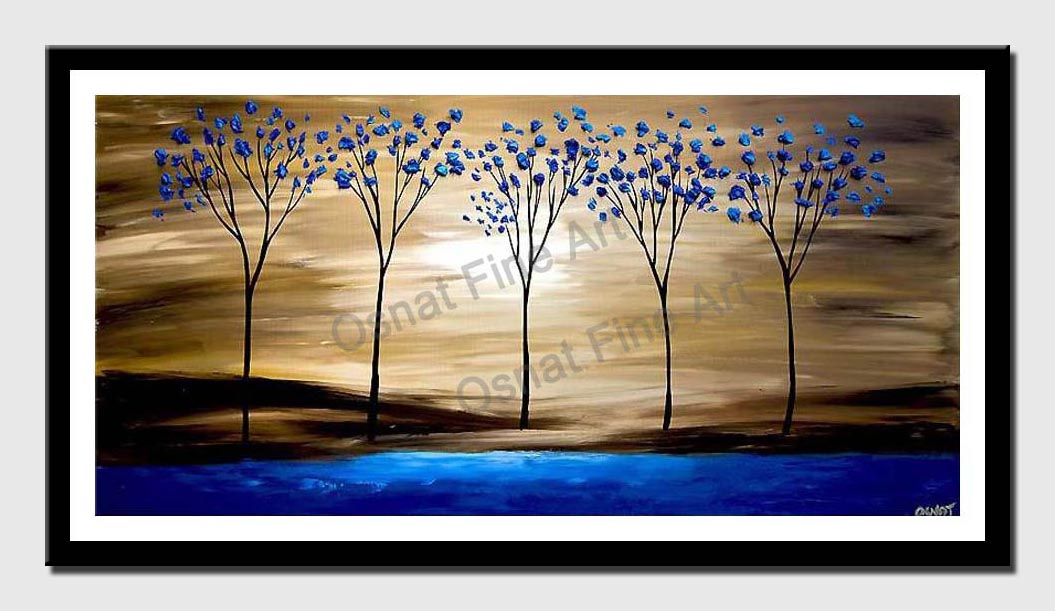 canvas print of  Blue blooming trees on Blue Lake
