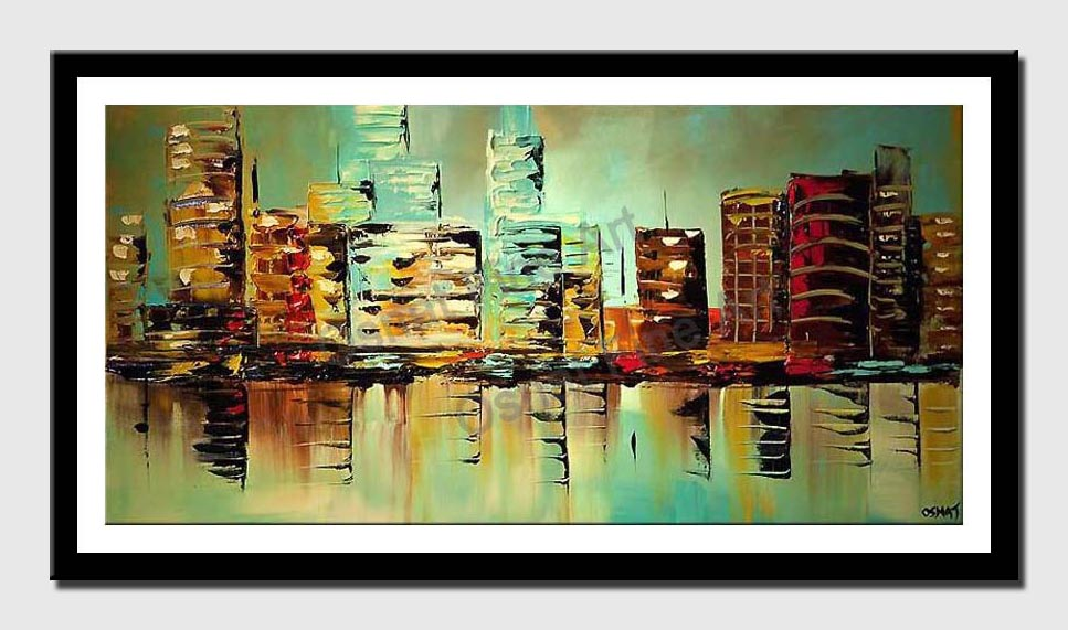 canvas print of  Modern palette knife turquoise city painting