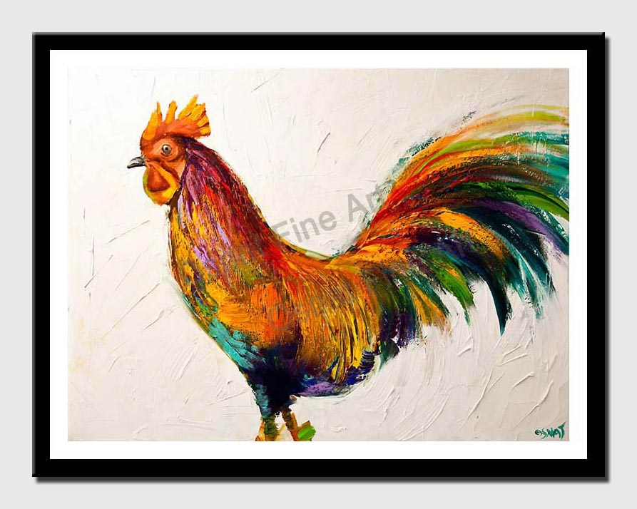 canvas print of  Colorful Abstract Rooster Palette Knife