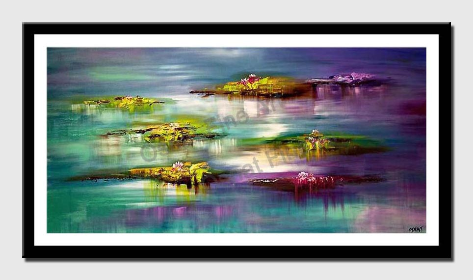 canvas print of  Abstract Lilly Pads Modern Palette Knife