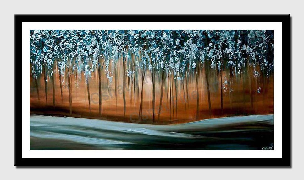 canvas print of  Blue Forest Painting Modern Palette Knife
