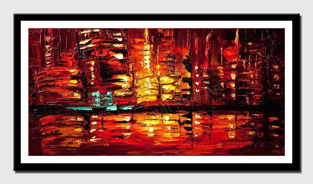 canvas print of Red Abstract City Painting Modern Palette Knife