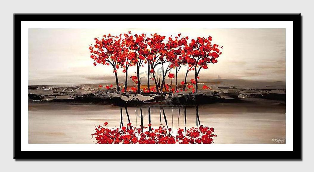 canvas print of red blooming trees on white textured landscape painting