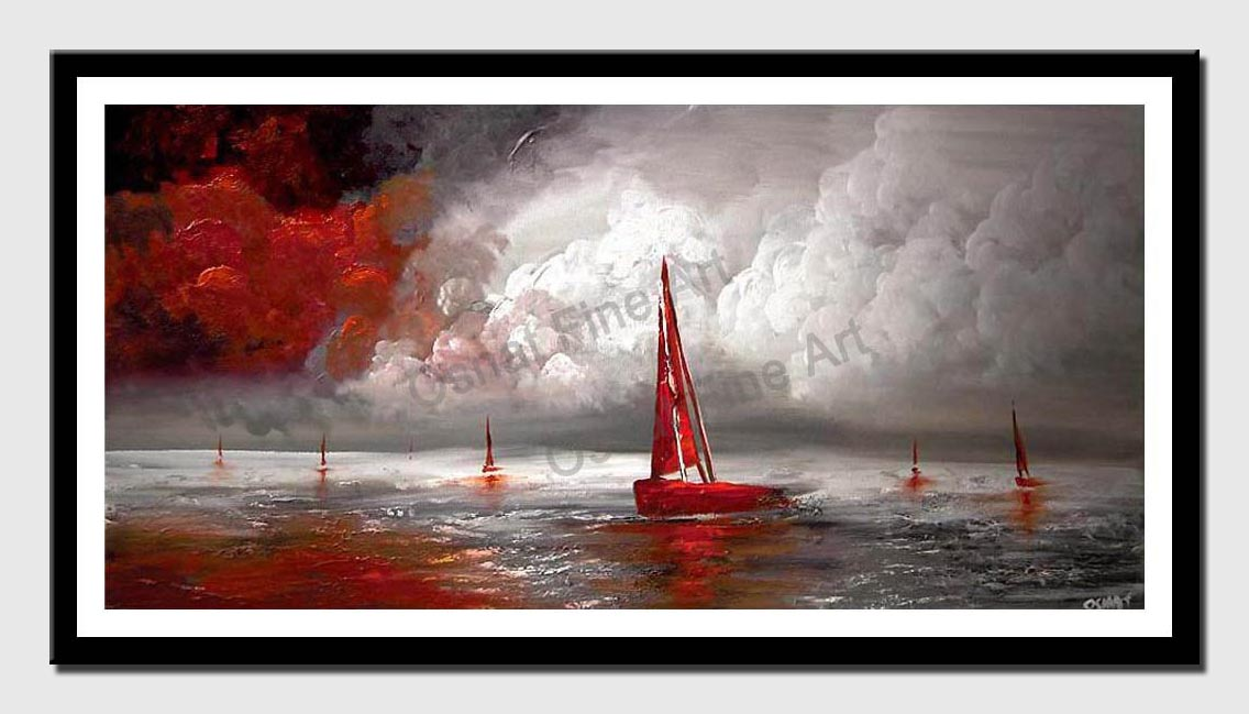 canvas print of red sail boat seascape painting modern palette knife