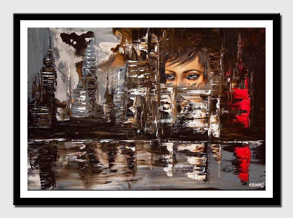 canvas print of original city painting through woman eyes