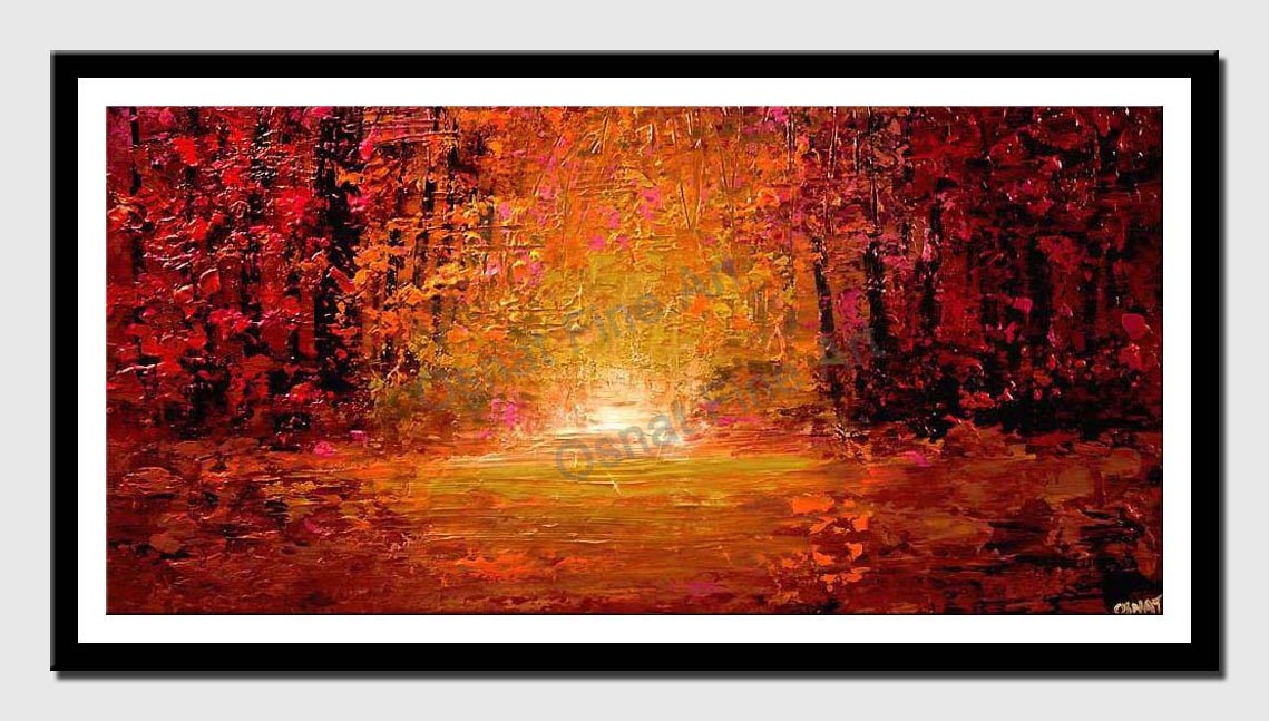 canvas print of textured abstract landscape colorful forest painting