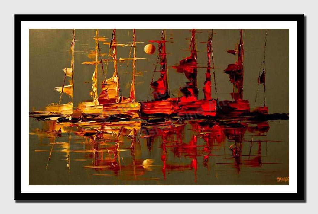 canvas print of modern palette knife sail boats