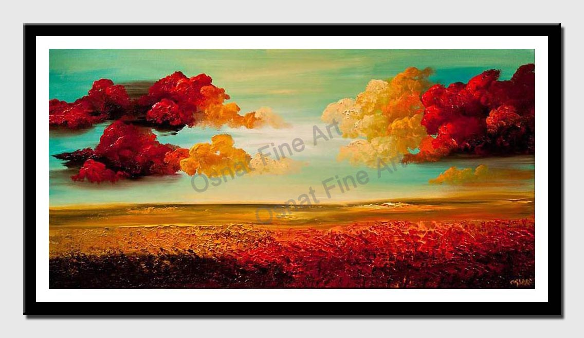 canvas print of turquoise landscape painting heavy texture