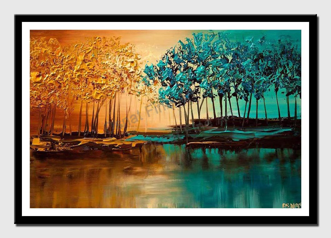 canvas print of modern landscape textured blooming trees painting