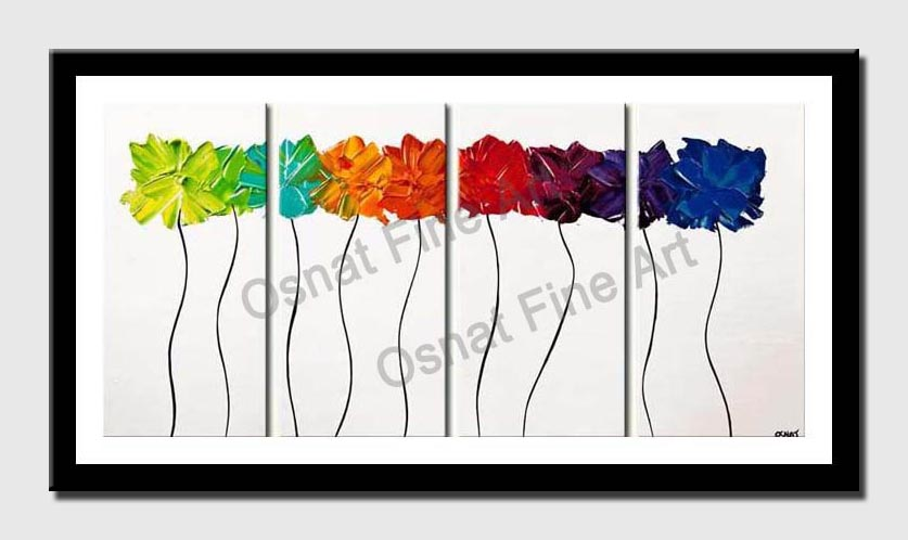 canvas print of colorful blooming abstract textured flowers
