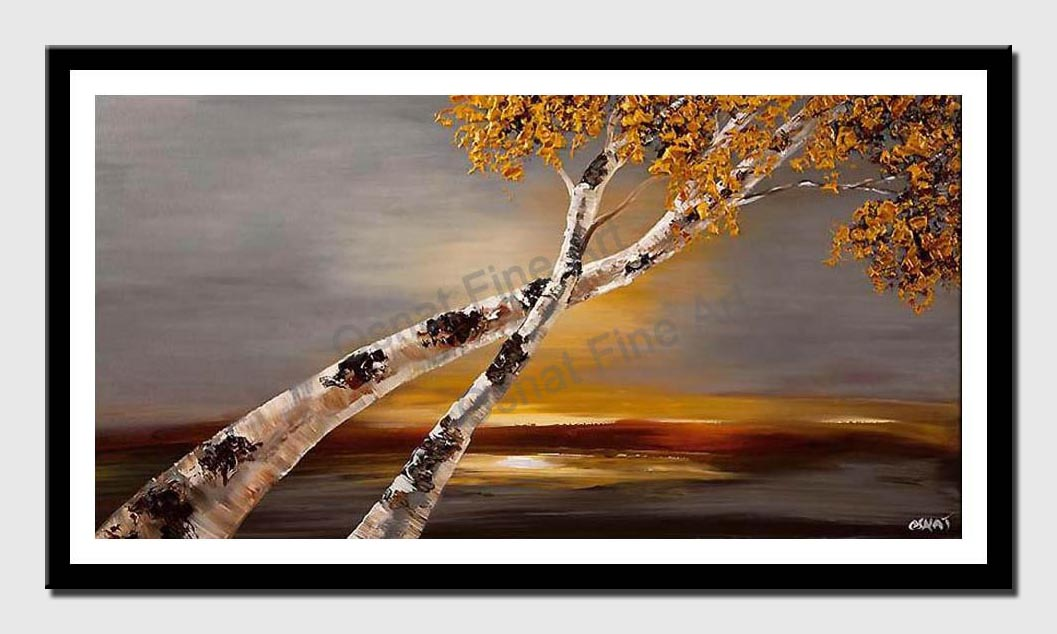 canvas print of Birch tree abstract landscape textured painting