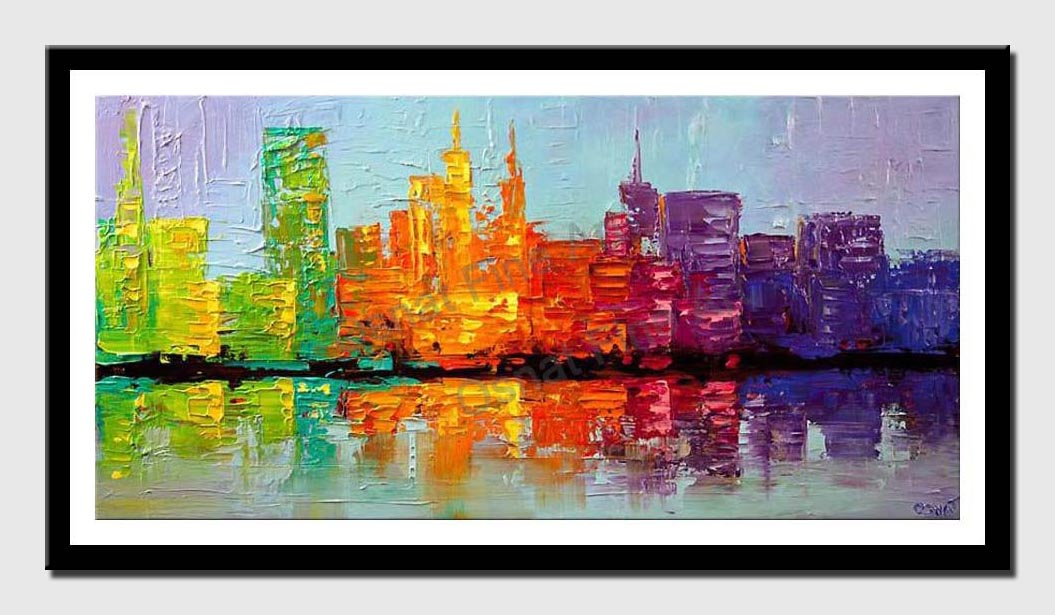 canvas print of city painting colorful textured NYC city skyline