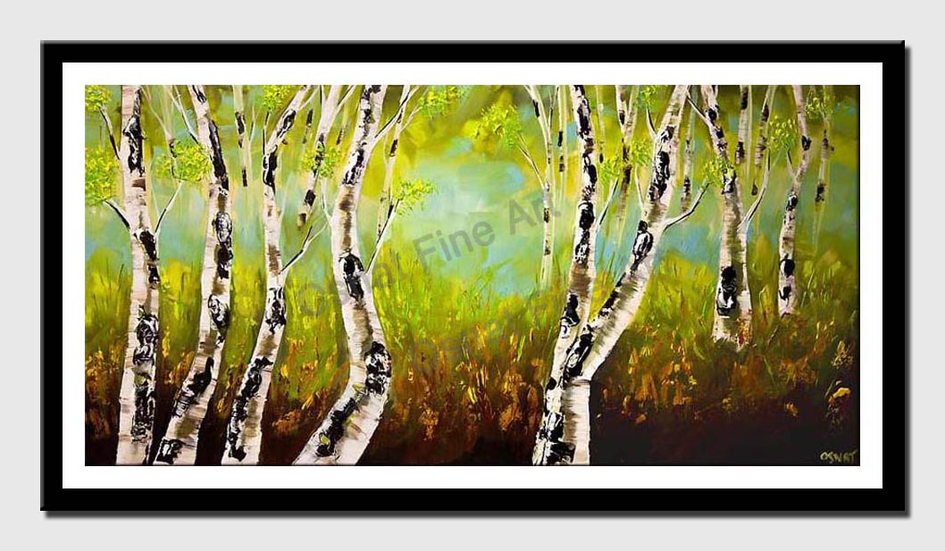 canvas print of birch trees forest landscape palette knife