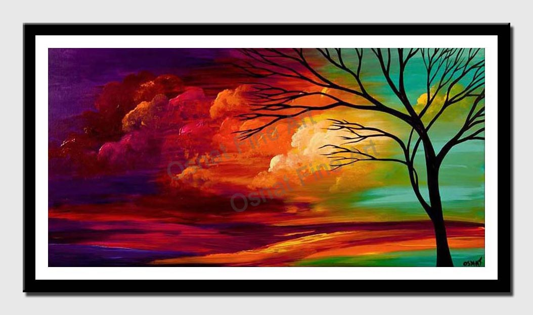 canvas print of abstract landscape colorful sunset painting