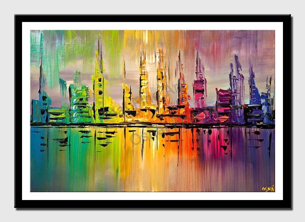 canvas print of colorful skyline city painting palette knife