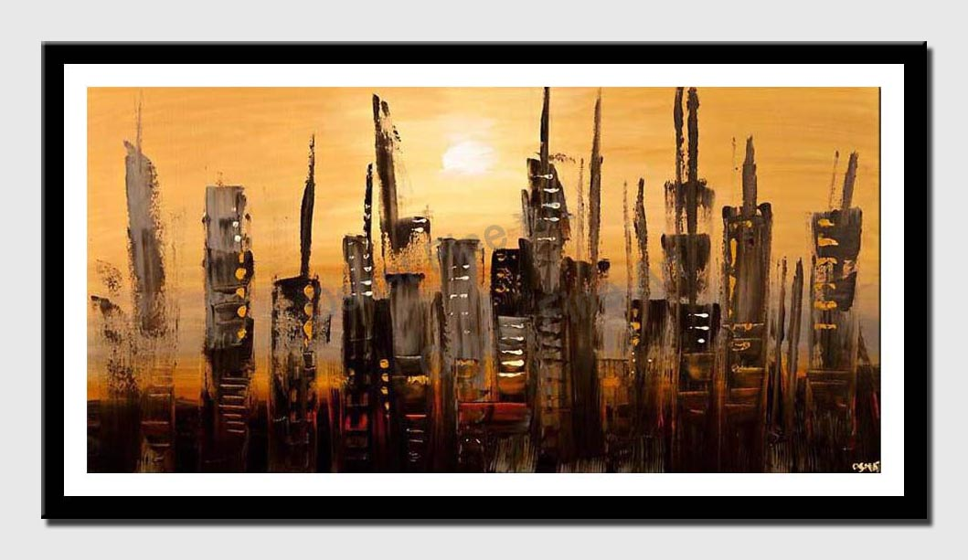 canvas print of abstract skyscrapers city painting