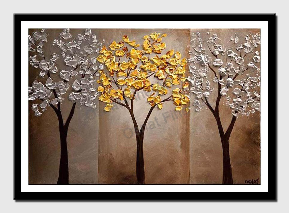 canvas print of gold silver tree painting textured