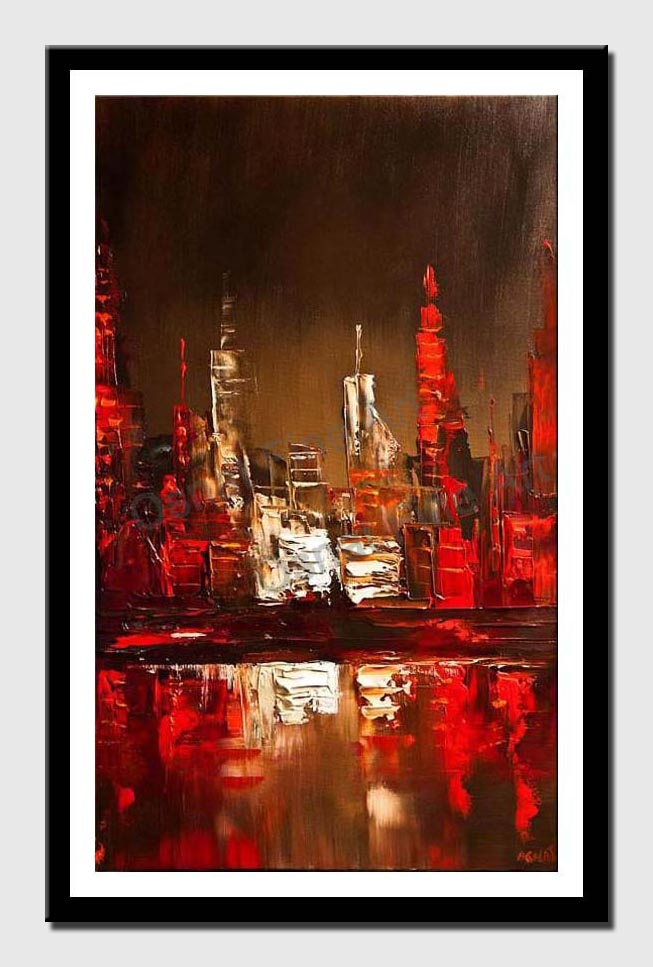 canvas print of abstract city painting skyline palette knife