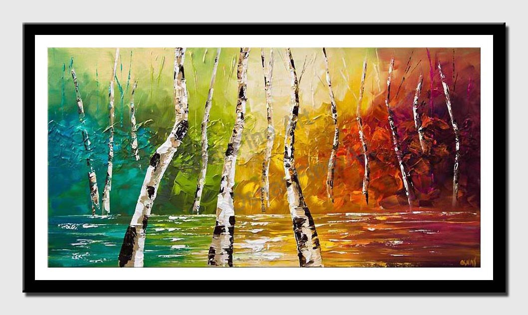 canvas print of colorful landscape birch trees palette knife