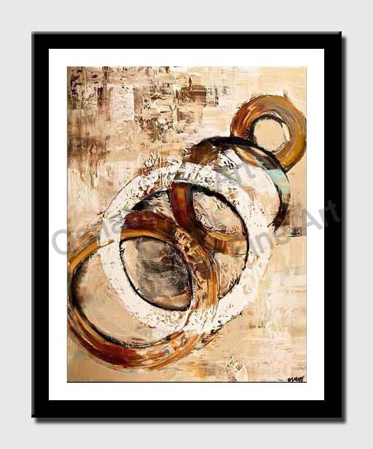 canvas print of original abstract art white circle painting modern palette knife