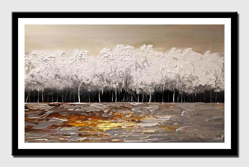 canvas print of white blooming trees painting modern palette knife