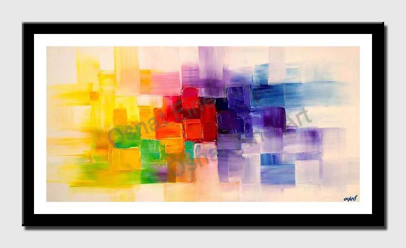 canvas print of colorful modern abstract palette knife textured