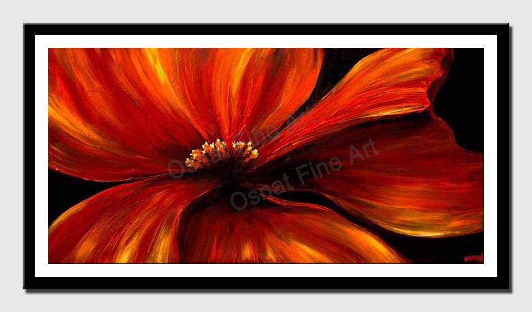 canvas print of red poppy abstract painting