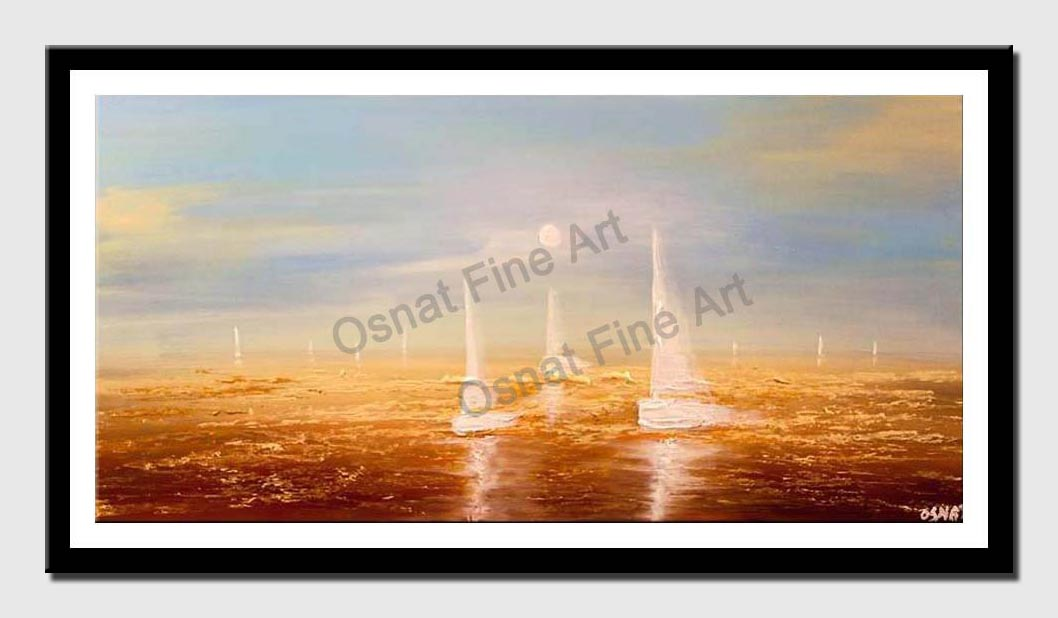 canvas print of contemporary abstract sail boats painting