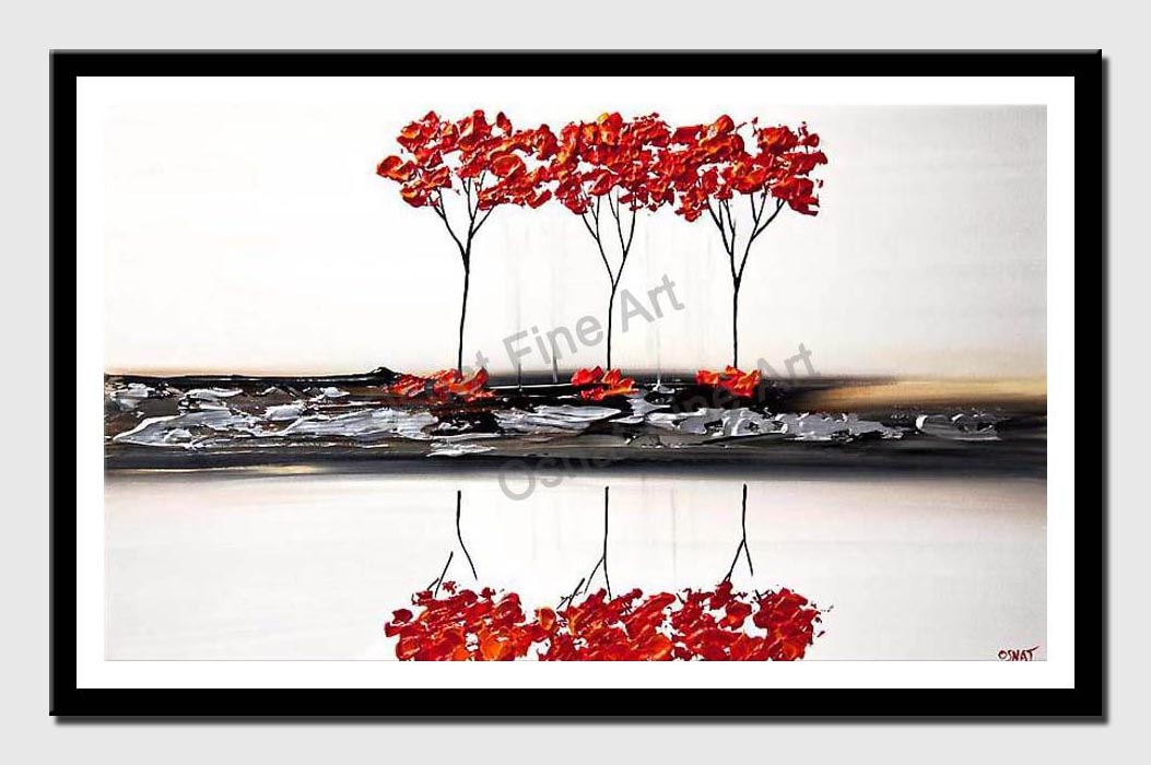 canvas print of white red abstract landscape painting palette knife