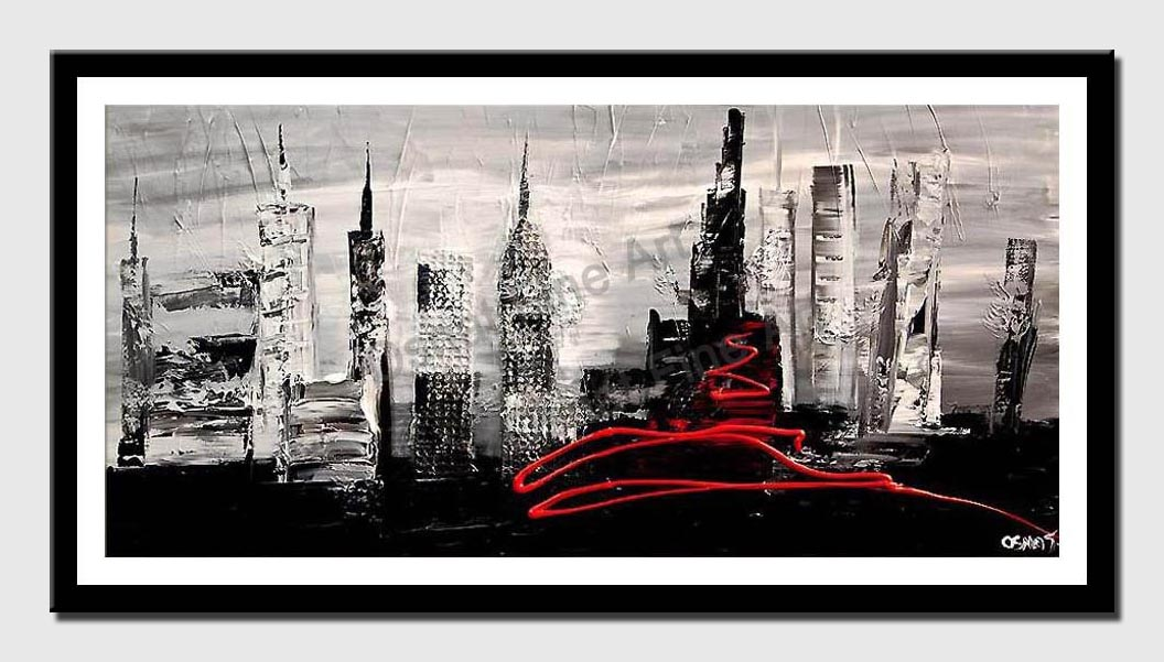 canvas print of black white abstract city painting heavy impasto textured palette knife