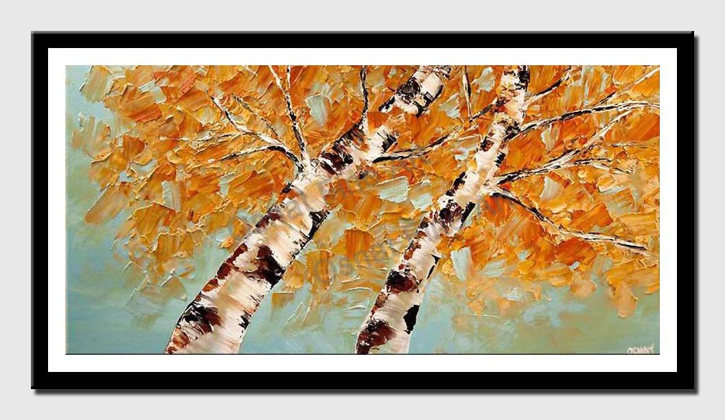 canvas print of contemporary abstract blooming birch tree painting palette knife