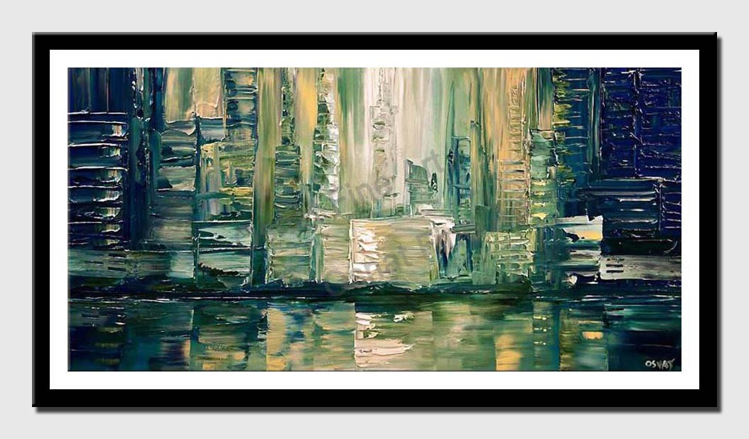 canvas print of abstract city painting impasto texture palette knife