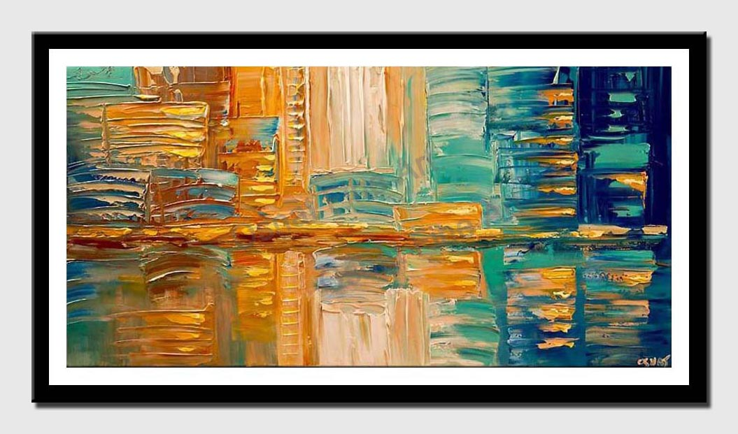canvas print of Promenade abstract city shorline painting palette knife