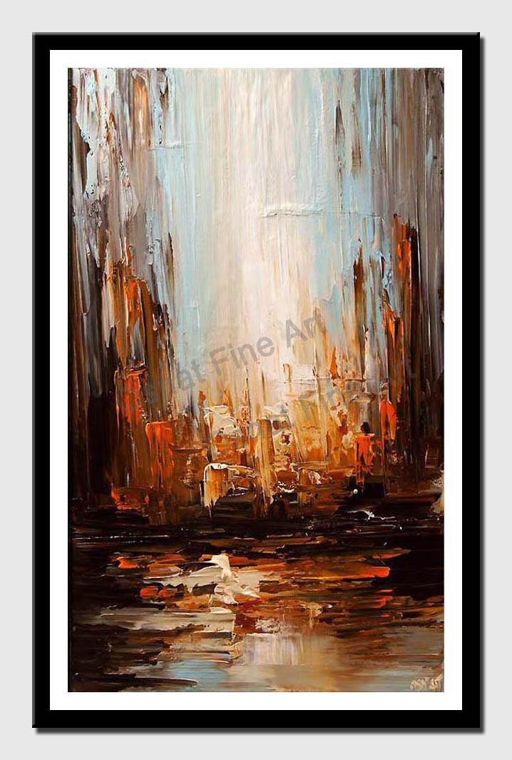 canvas print of contemporary abstract city painting heavy texture palette knife