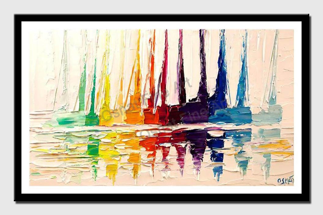 canvas print of white modern sail boats abstract heavy impasto palette knife