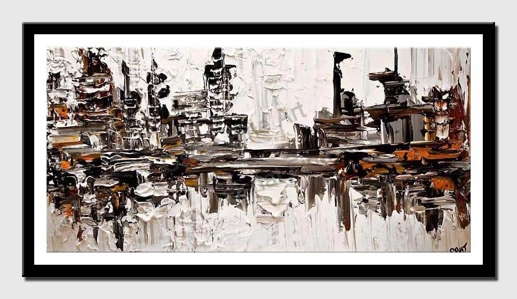 canvas print of modern texture city painting contemporary abstract