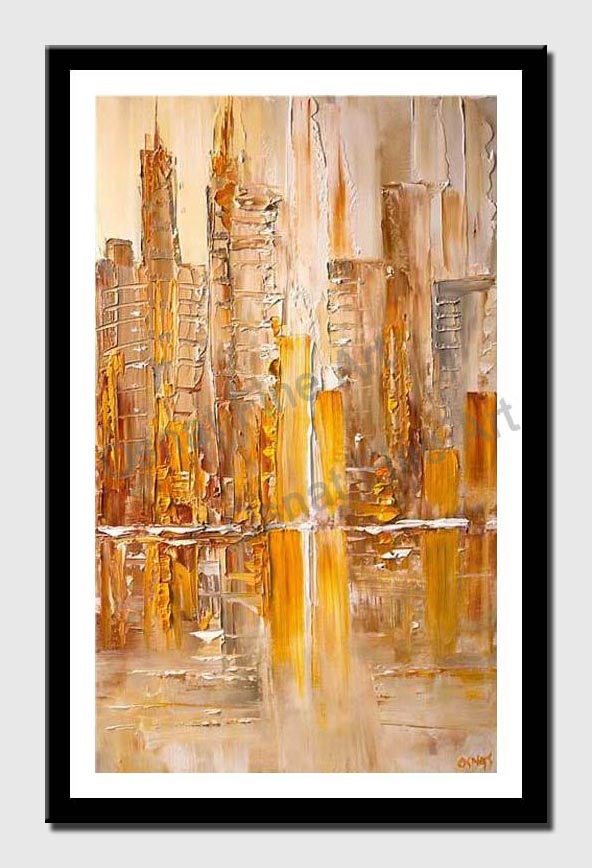 canvas print of Yellow abstract cityscape painting modern fine art