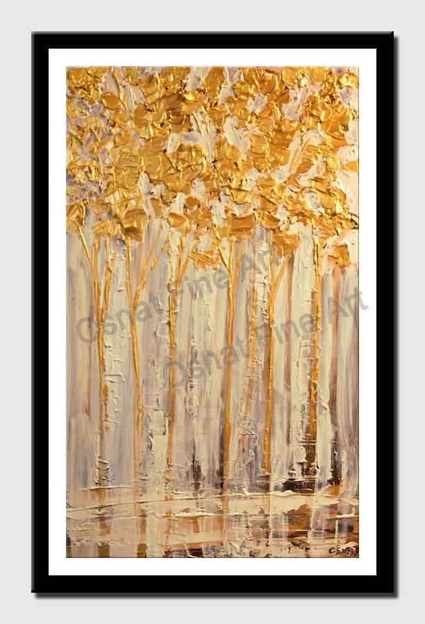 canvas print of blooming birch trees palette knife painting