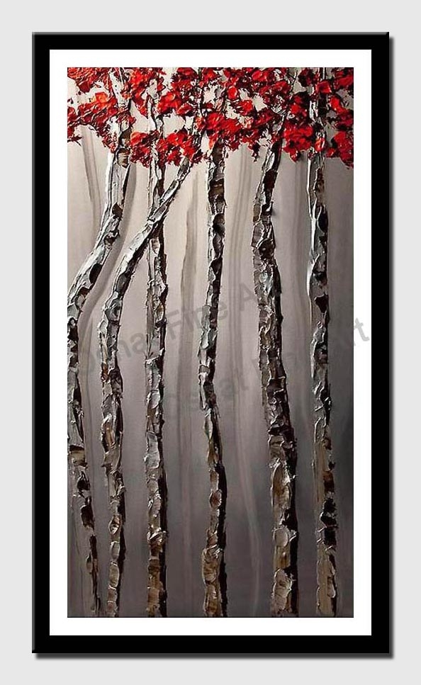 canvas print of silver birch tree abstract  painting red tree tops palette knife