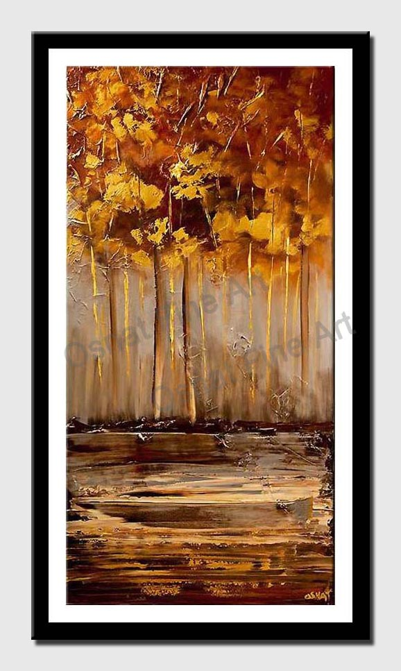 canvas print of golden forest abstract landscape painting