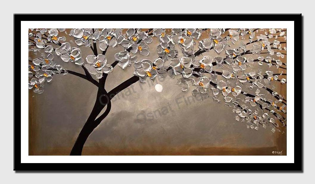 canvas print of siliver blossom tree painting modern palette knife
