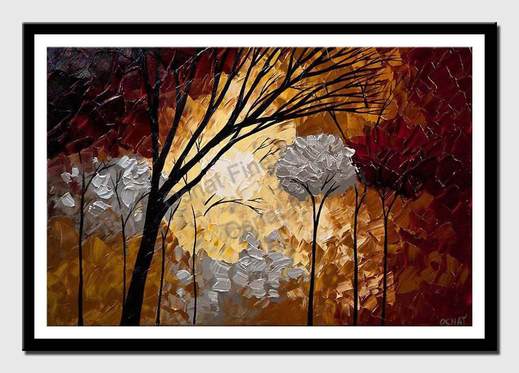 canvas print of red silver trees painting forest landscape texture