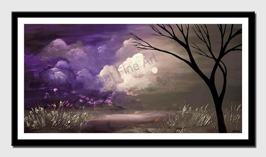 canvas print of purple gray landscape tree painting