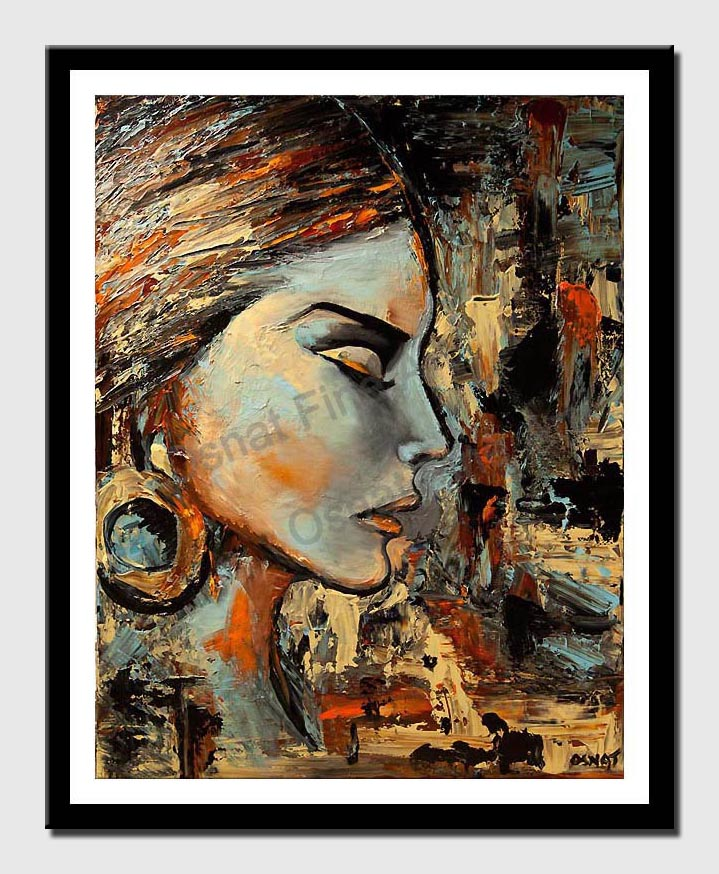 canvas print of modern abstract portrait palette knife painting