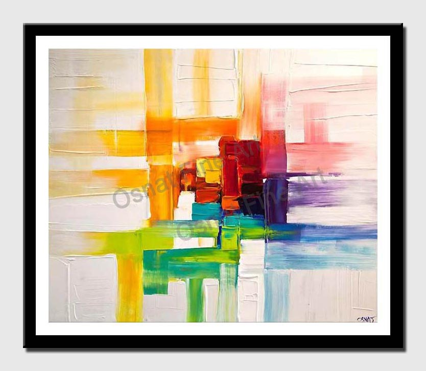 canvas print of colorful abstract painting modern palette knife