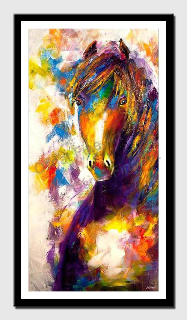canvas print of modern colorful horse painting palette knife abstract