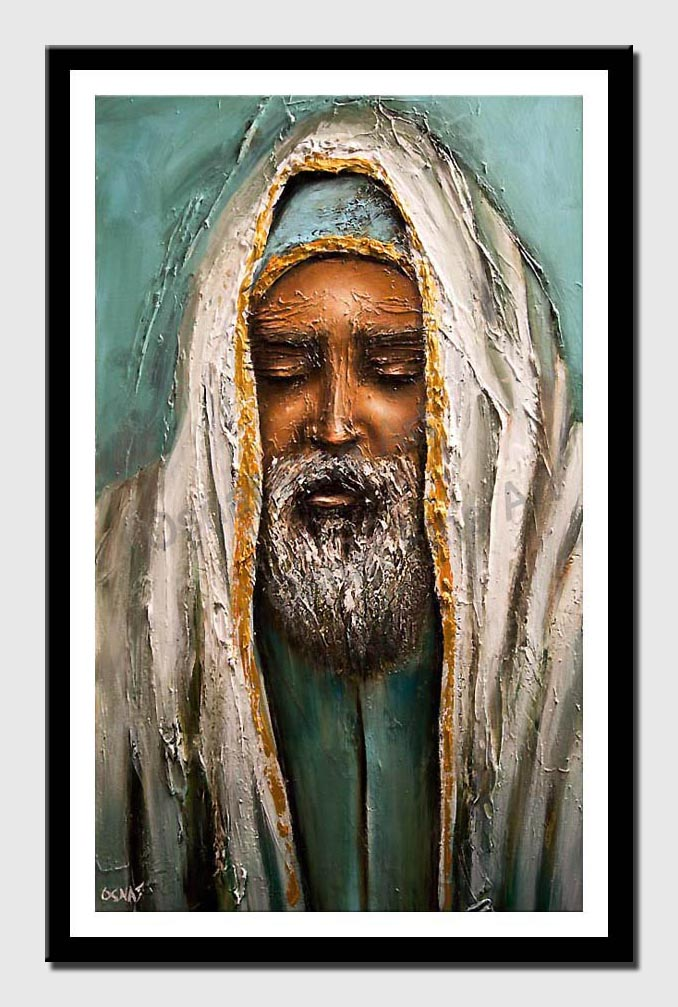 canvas print of rabbi painting Judaica portrait painting