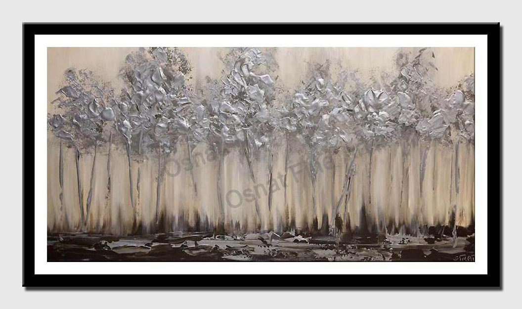 canvas print of silver blooming trees abstract landscape painting