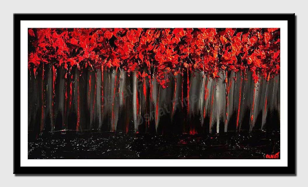 canvas print of red forest on black background blooming trees painting heavy impasto