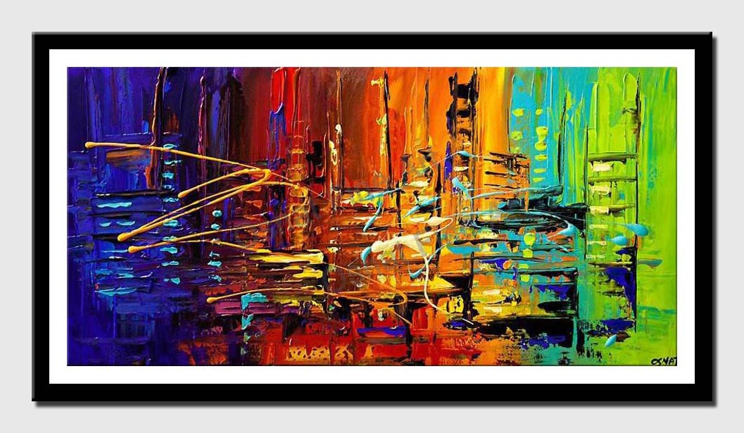 canvas print of textured city painting colorful abstract painting heavy impasto